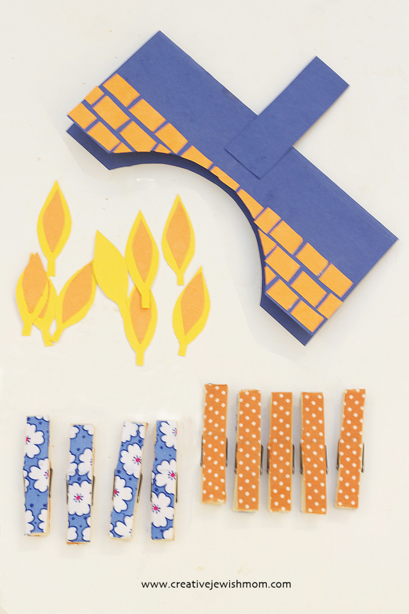 Clothespins Hanukkah Menorah craft supplies
