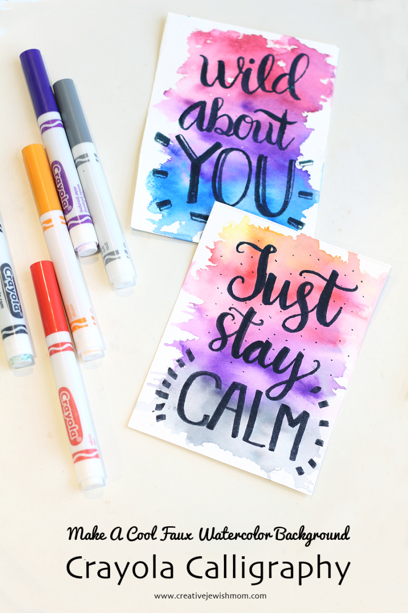 Crayola Calligraphy with crayola watercolor background