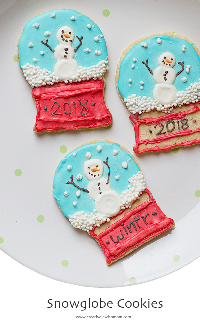 Snowglobe Cookies with royal icing snowmen