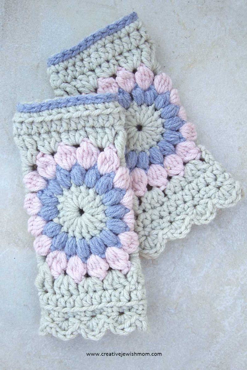 Crocheted Granny Square Hand Warmer Pink and Grey