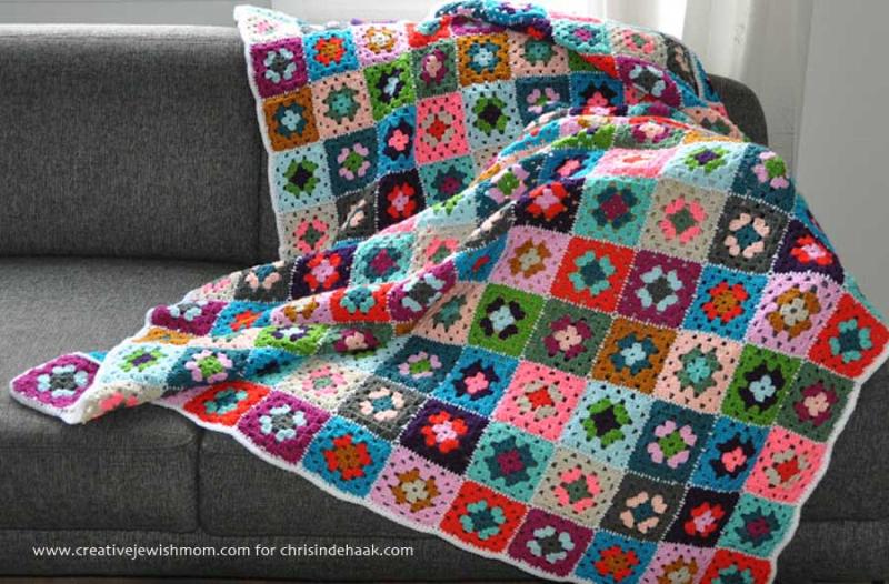 Granny square blanket wtih brights