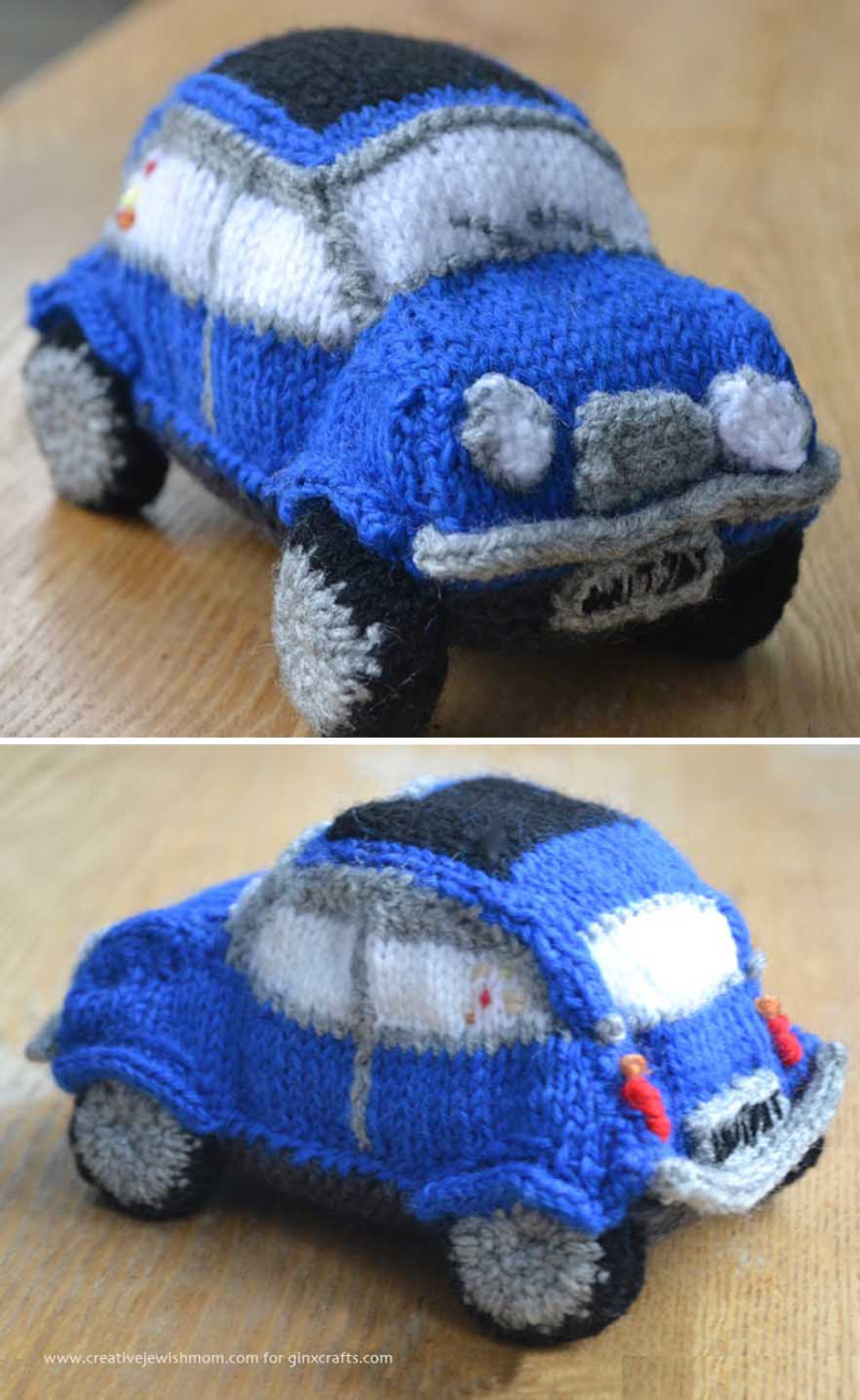 Knit mini cooper stuffed car