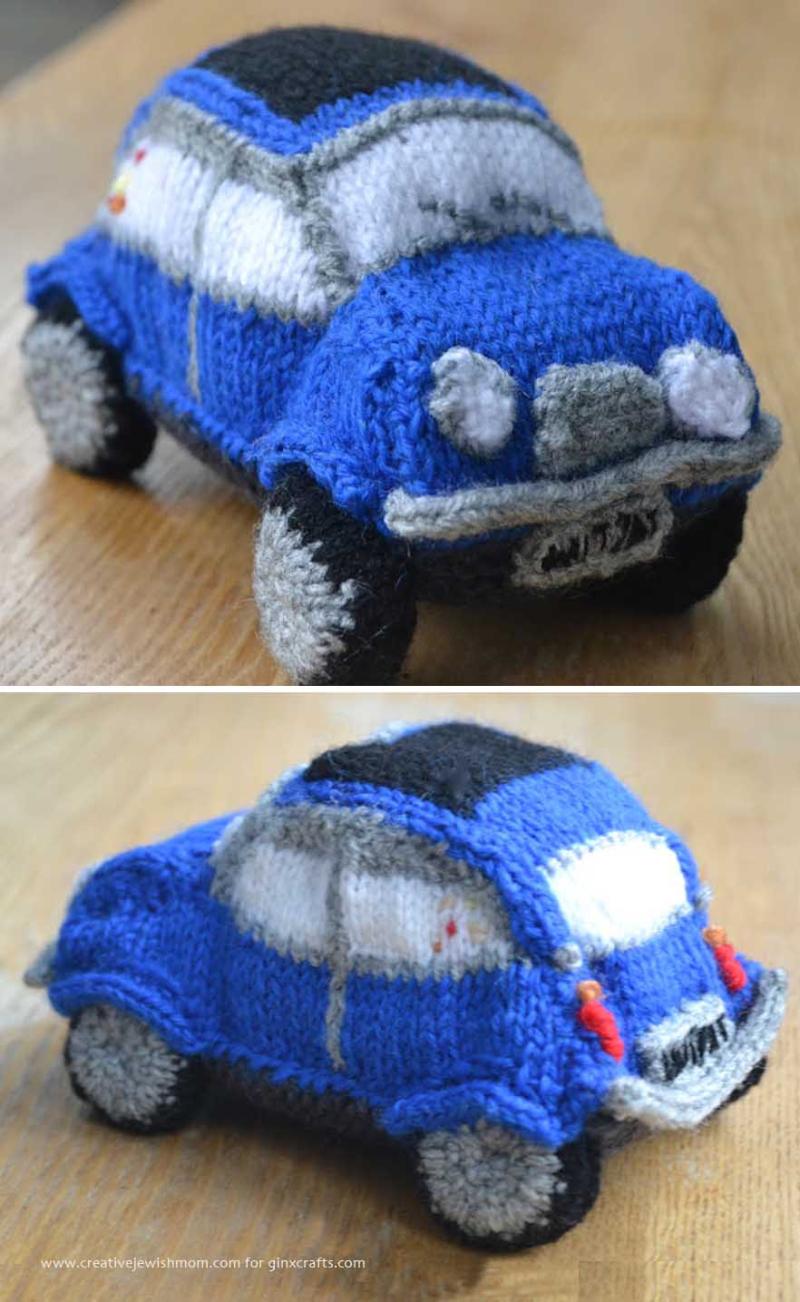 Knit mini cooper stuffed car