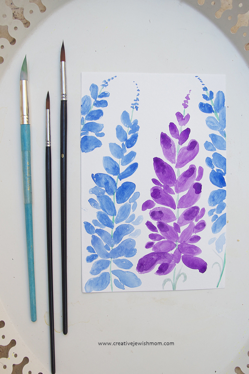 Watercolor expressive florals larkspur