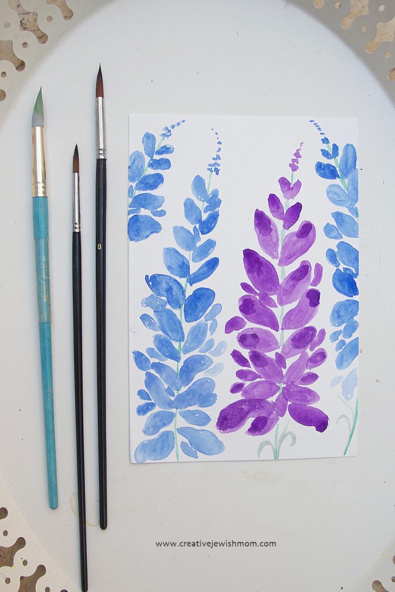 Watercolor expressive florals larkspur