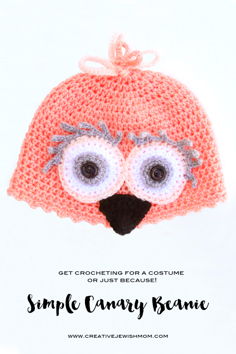 Crocheted Bird Hat Canary For Costyme