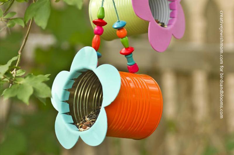 Recycling craft bird feeder tin can
