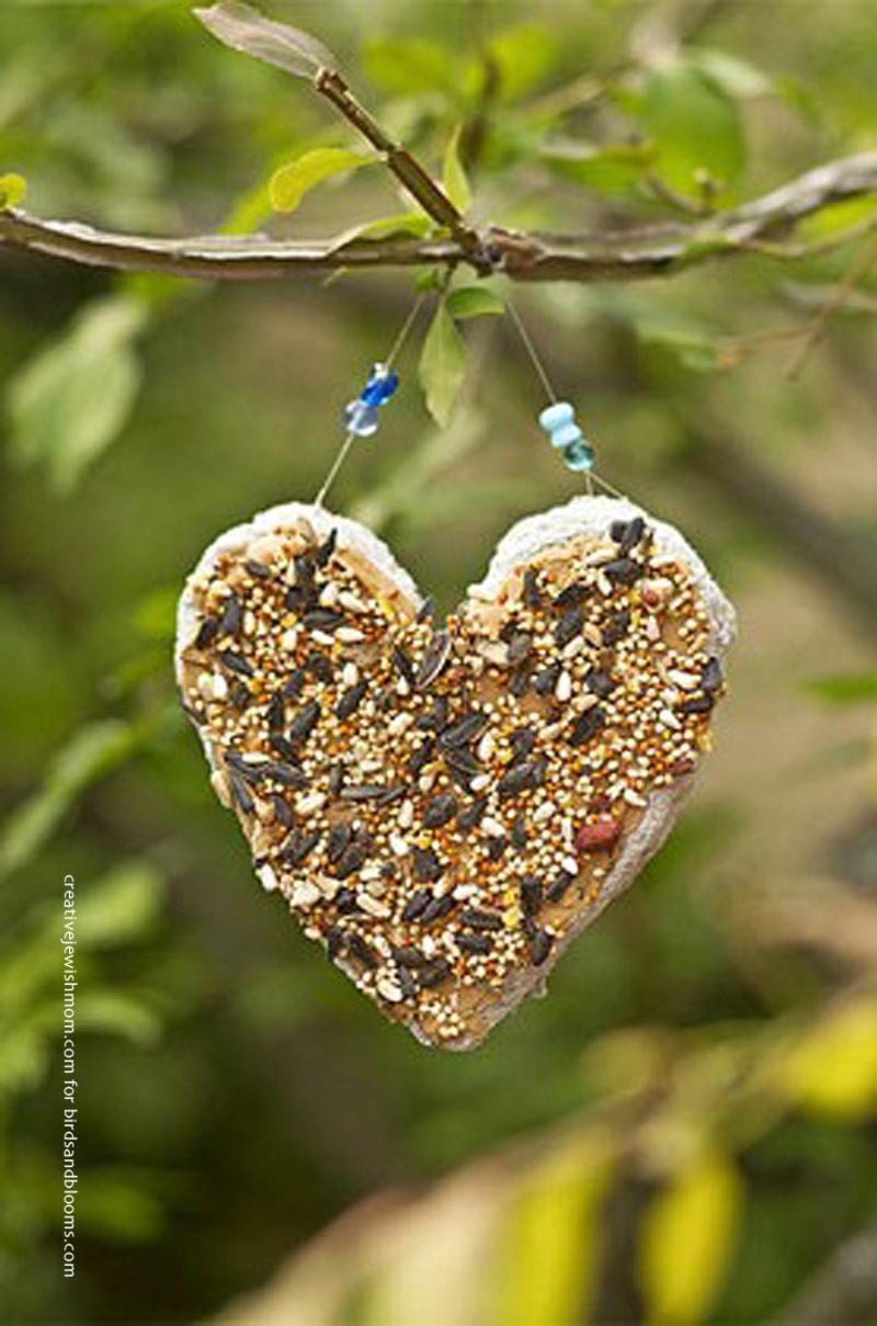 Recycling Crafts Bird feeder paper mache heart