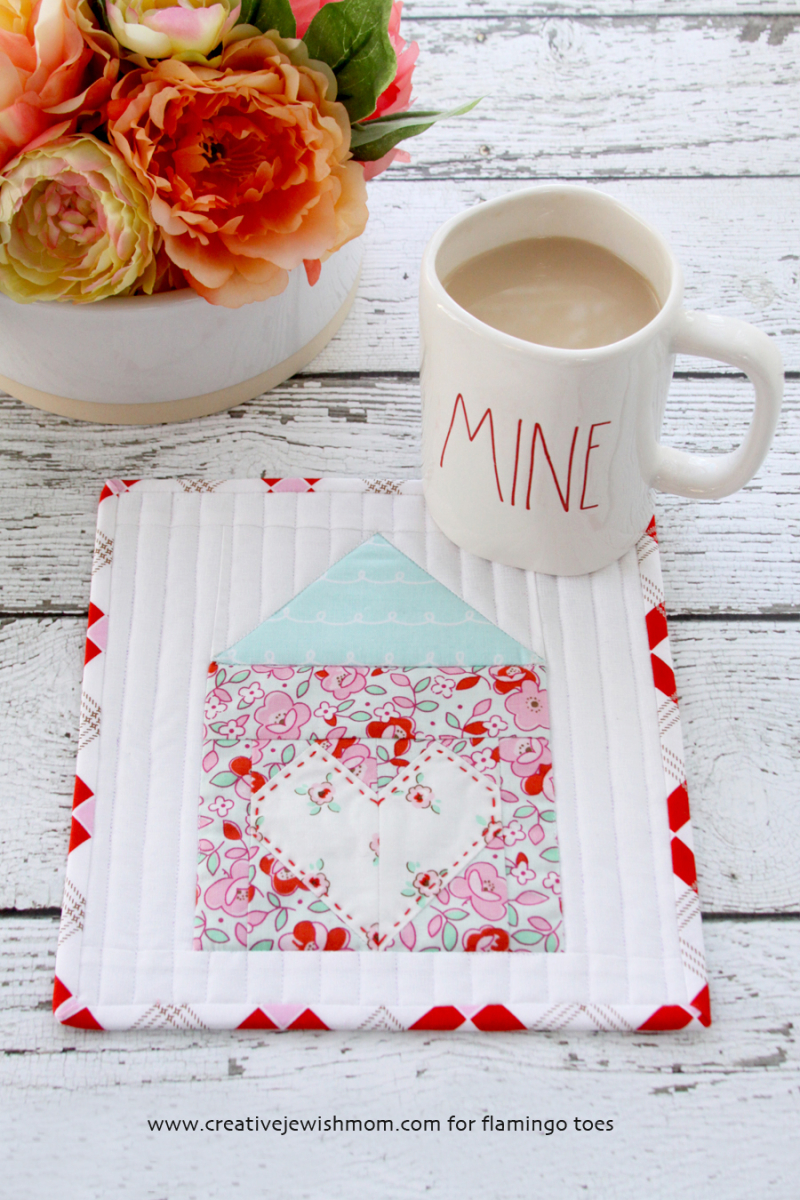 Little house quilted mug rug