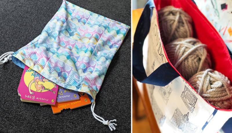 Tea towel tote bag drawstring library bag