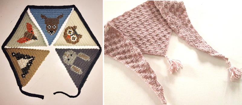 Forest friends crocheted bunting triangular crocheted scarf