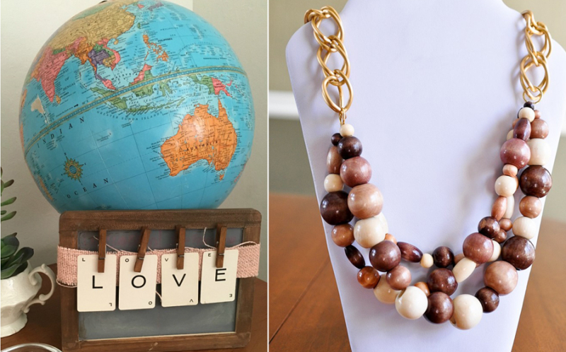 DIY love makes the world go round wooden bead necklace
