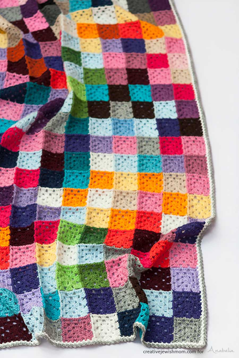 Crocheted granny square classic mosaic blanket
