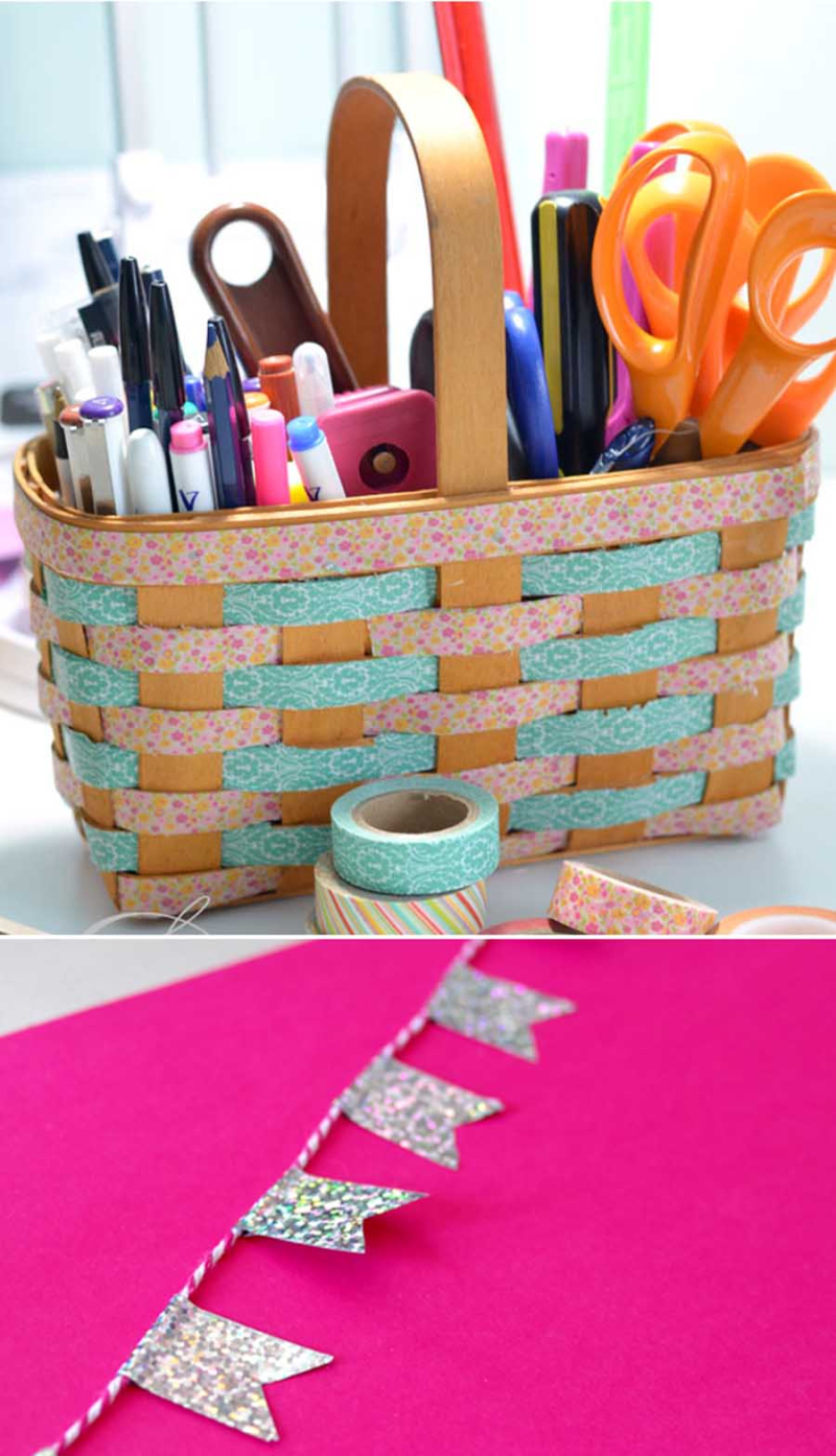Washi tape woven basket  washi tape flags