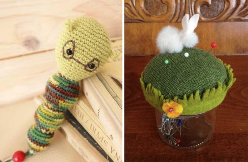Crocheted amigurumi bookworm  pin cushion jar with felted rabbit