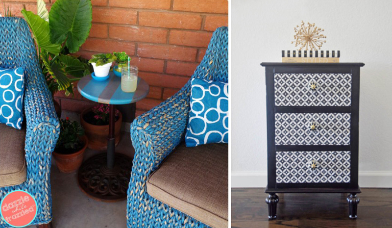 DIY Moroccan pattern on side table DIY umbrella stand table