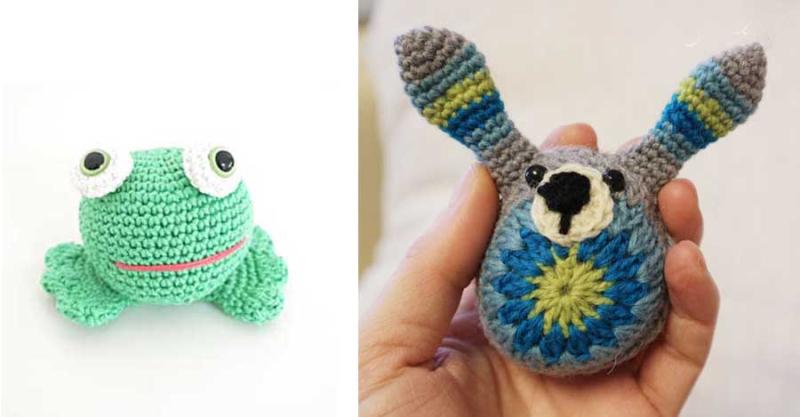 Crocheted frog crocheted granny bunny