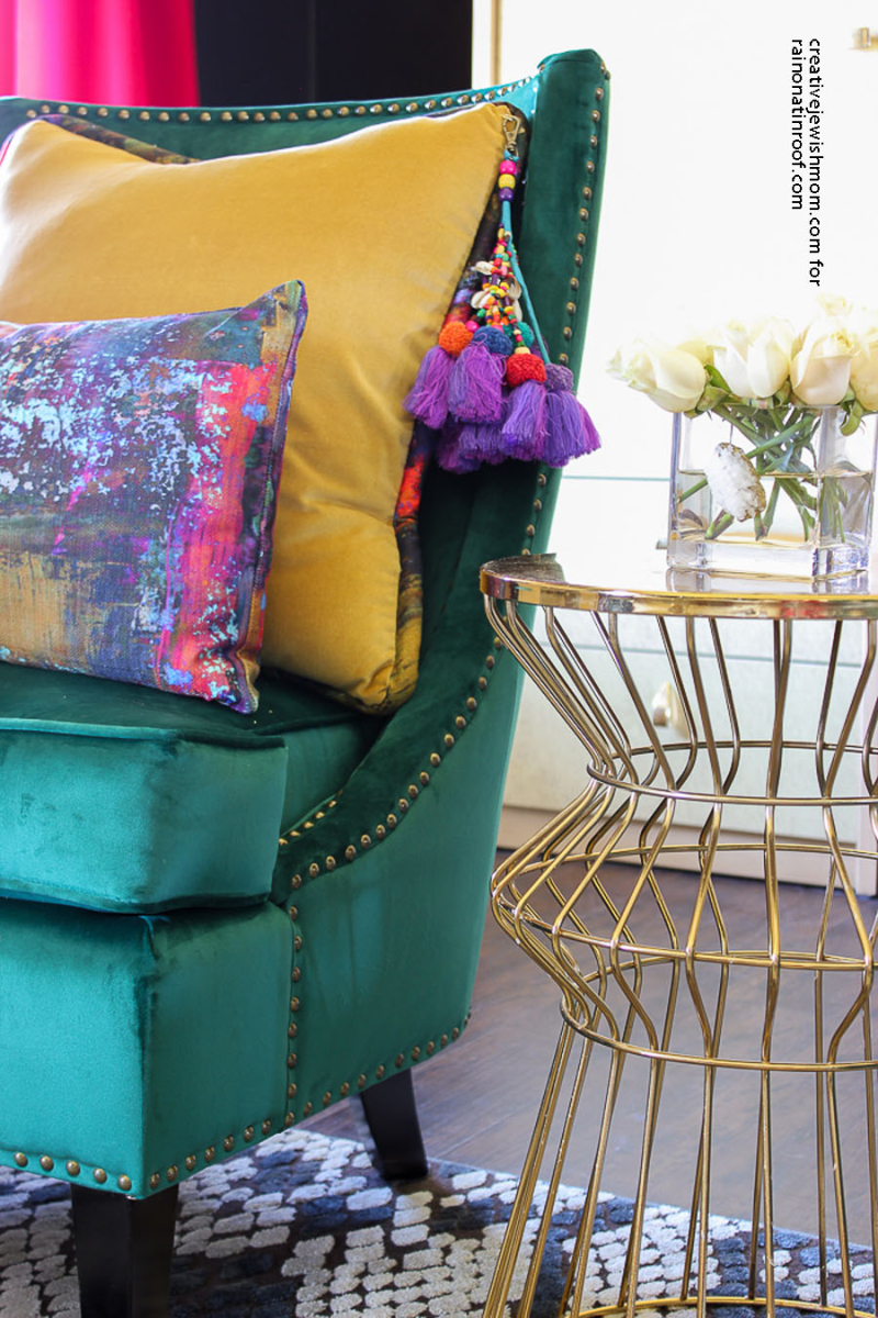 Gold side table bright colors home