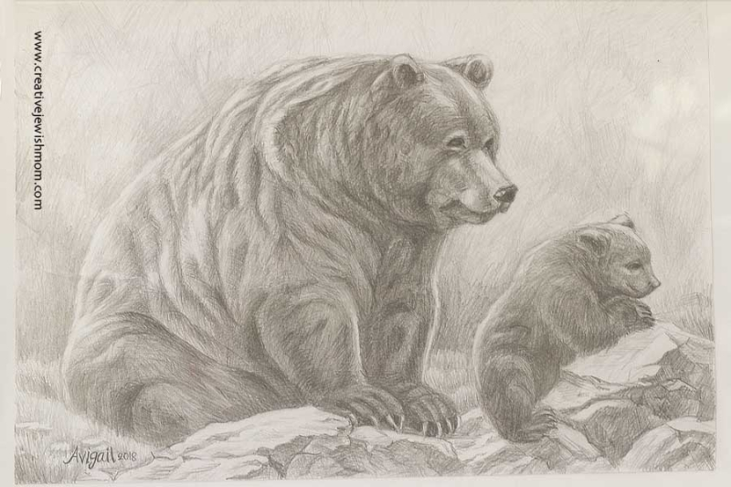 Bear And Cub Pencil Drawing With Shading