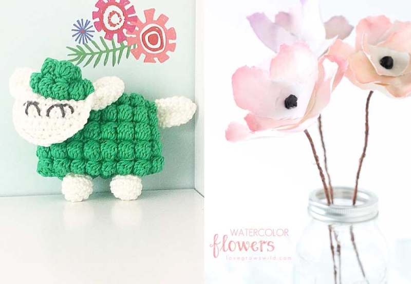 Crocheted lamb with bobble stitch watercolor paper poppies