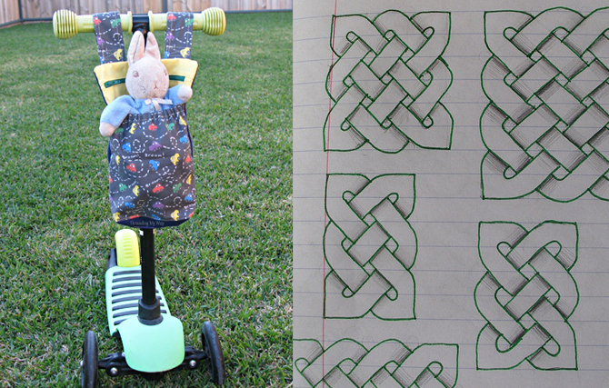 Celtic knotwork zentangles, scooter bag for kids