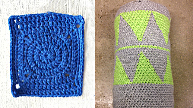 Ibiza triangular tapesty crochet pillow,rectangle granny square