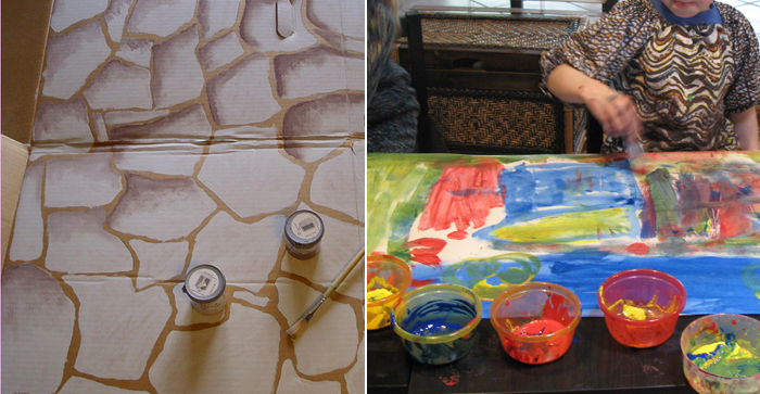 How to paint a stone wall prop,tips for painting with kids
