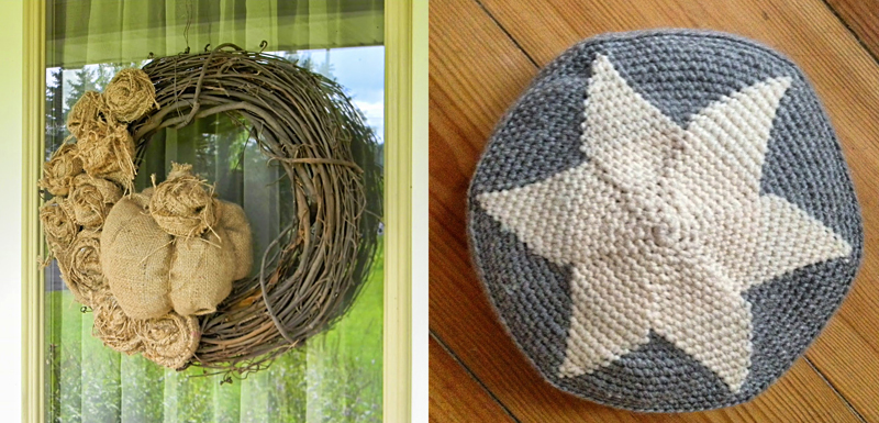 Fall wreath with burlap,crocheted star pillow