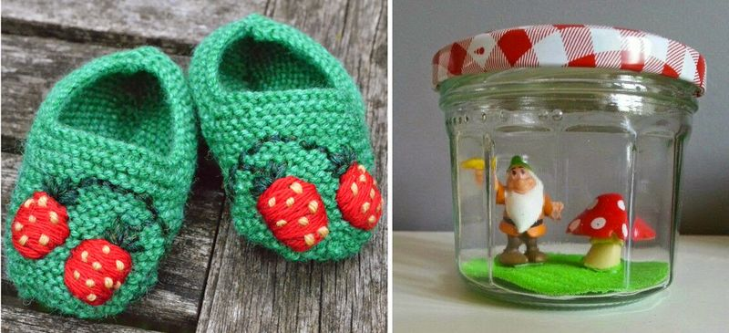 Jam jar winter scene,knit booties with strawberries