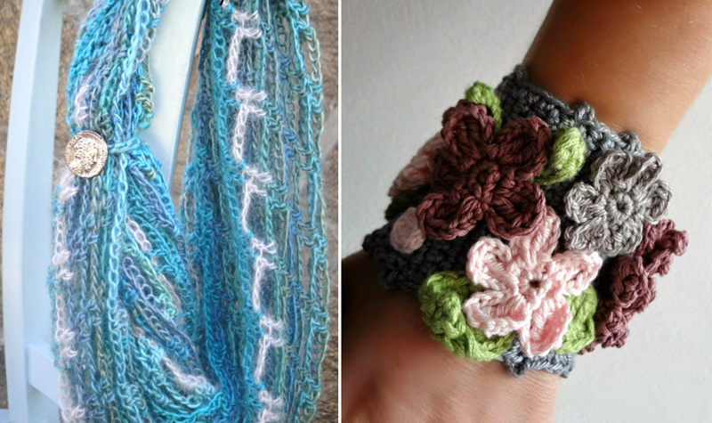 Crocheted net cowl with mohair,crocheted floral cuff