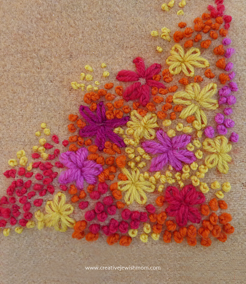 French Knot and Lazy Daisy embroidery sampler