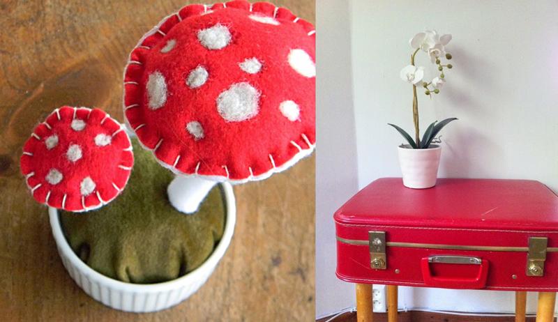 Suitcase side table,felt mushrooms