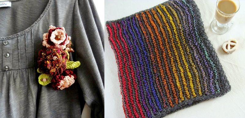 Crocheted flower brooch,knit cowl