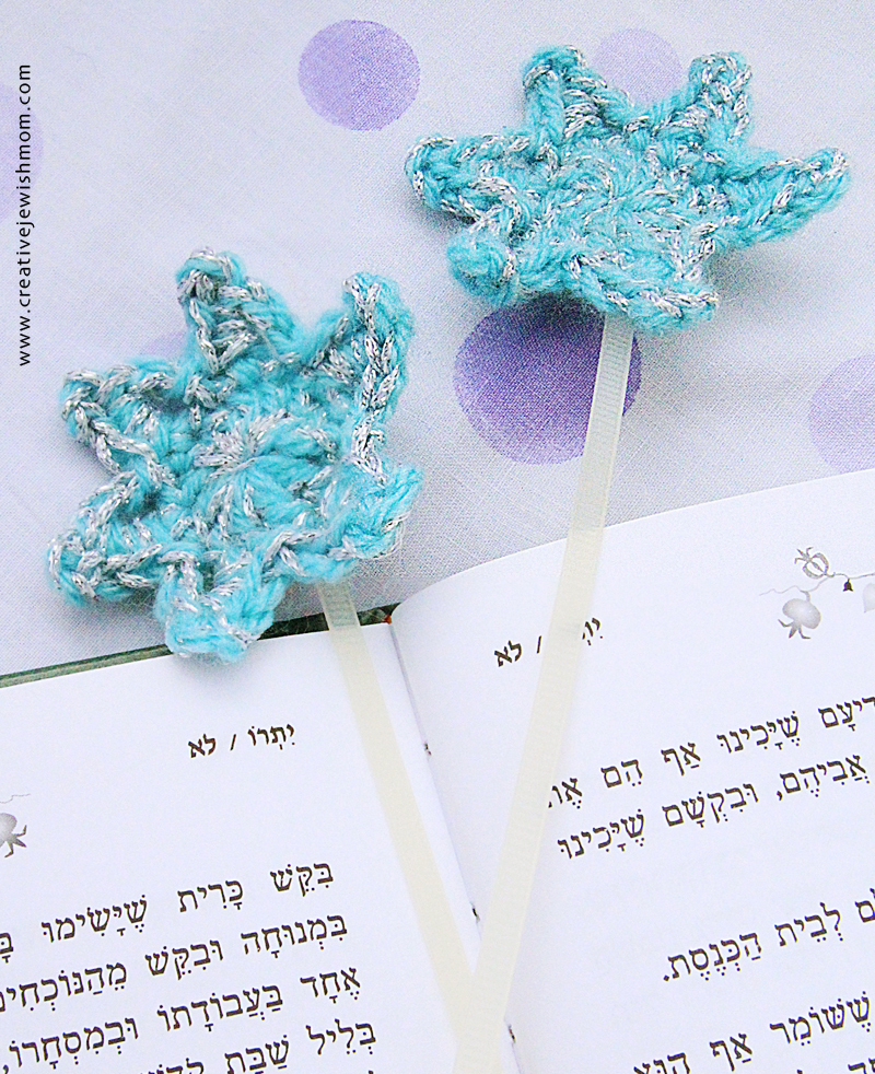 Crochet Projects for Hanukkah star zip tie bookmarks