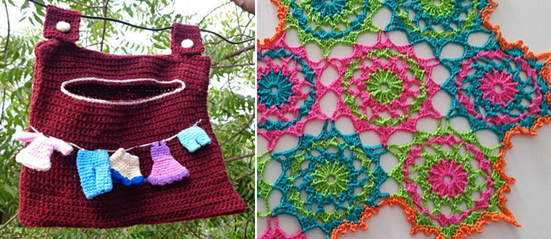 Crochet Clothespin bag,colorful star doily