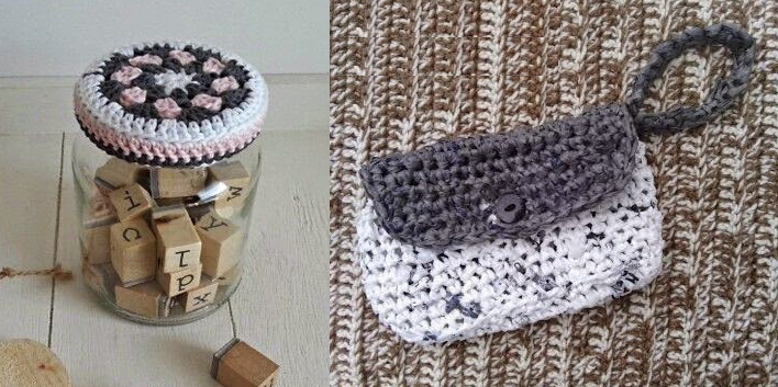 Plarn toiletries bag,crocheted jar topper