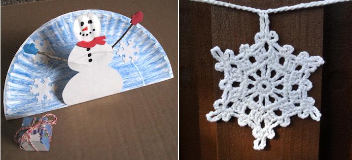 Paperplate snowman,crochet snowflake