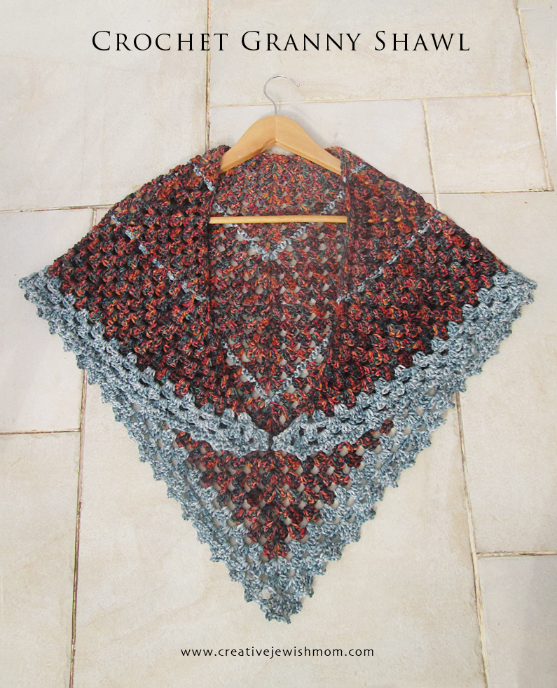 Crocheted Triangular Granny Shawl