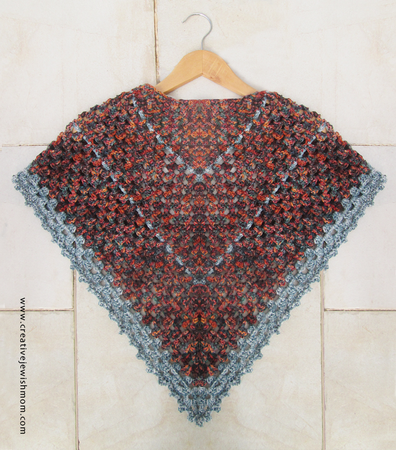 Crochet Triangular Granny Shawl back