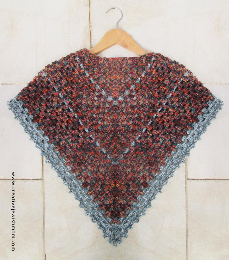 Crochet Triangular Granny Shawl back