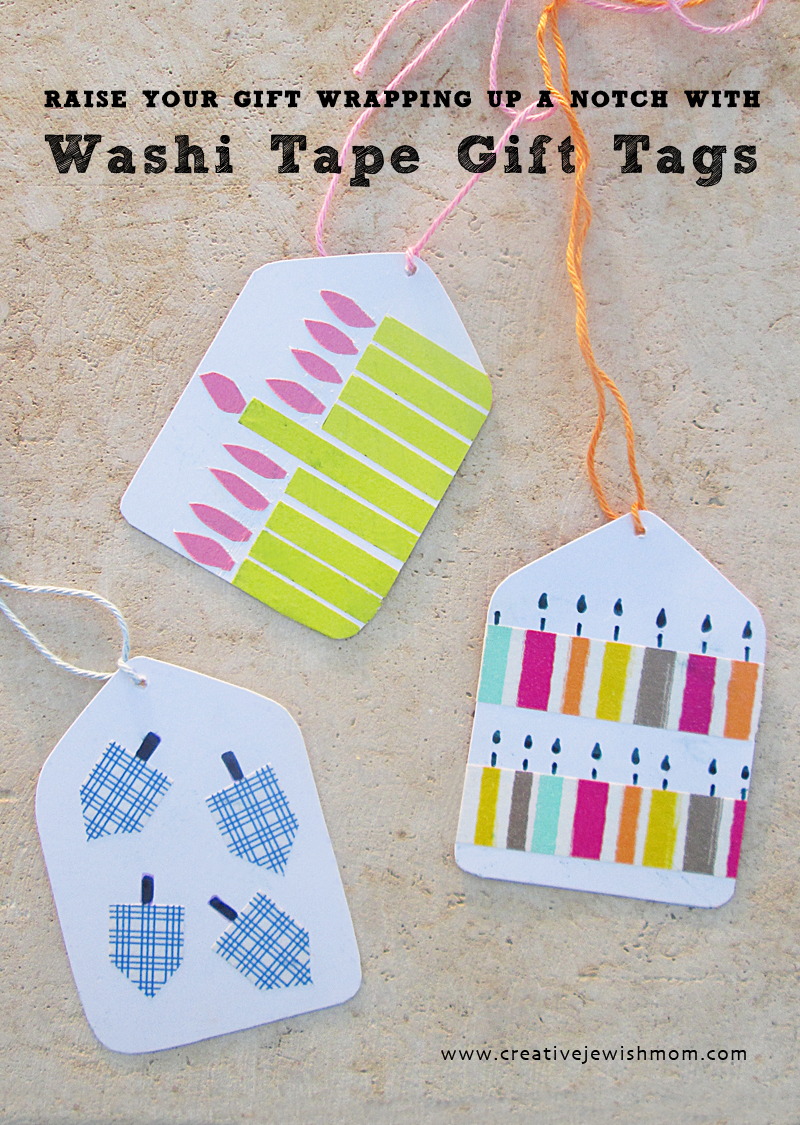 Hanukkah gift tags with washi tape
