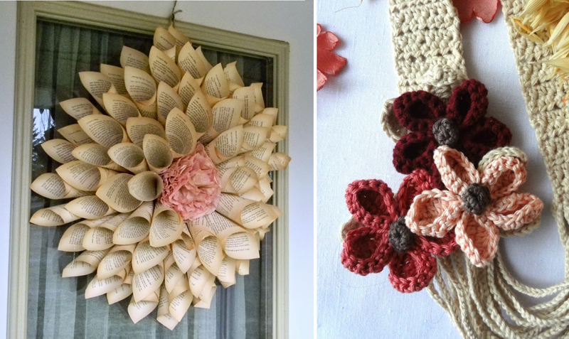 Book page flower wreath,crocheted flower necklace