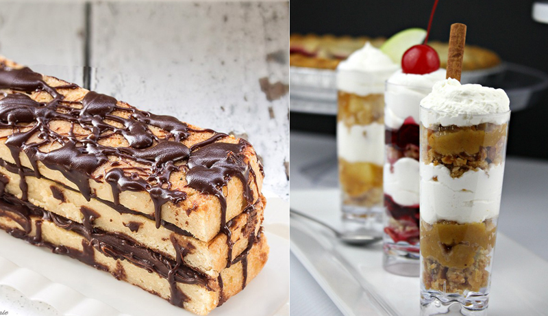 Pie shots pie tasters, blondie cake