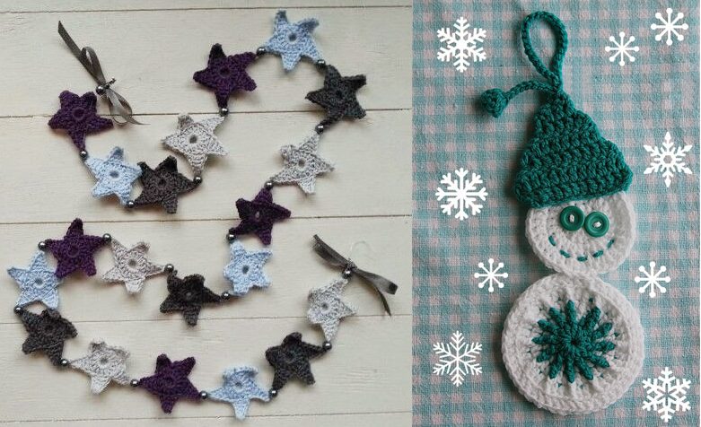 Crocheted snowman,crocheted star garland