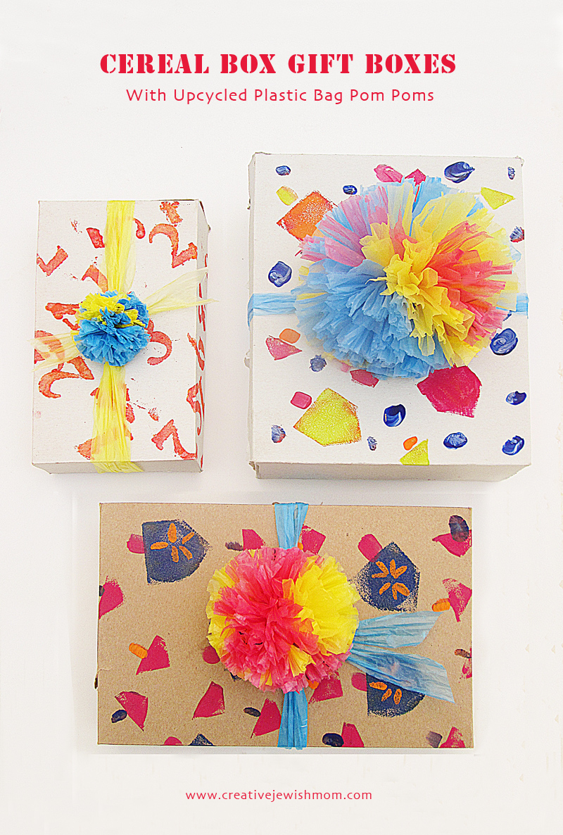 Cereal Box Hanukkah Gift Boxes With Plastic Bag Pom Poms