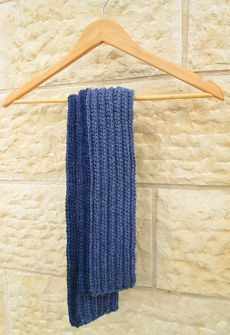 Crocheted Ribbed Scarf For Boys