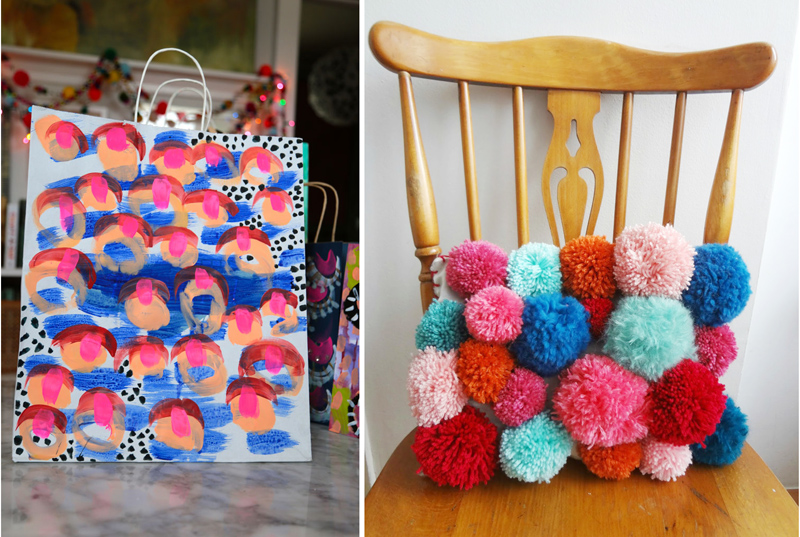 Pom pom pillow,painted gift bags