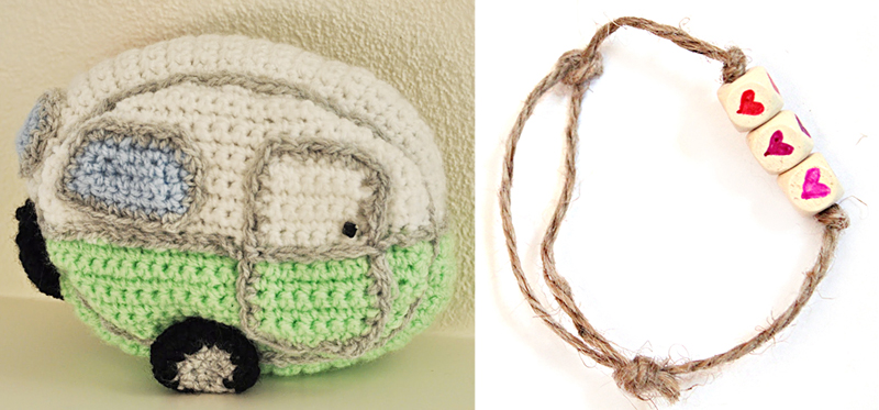Crocheted camper,DIY heart beads bracelet