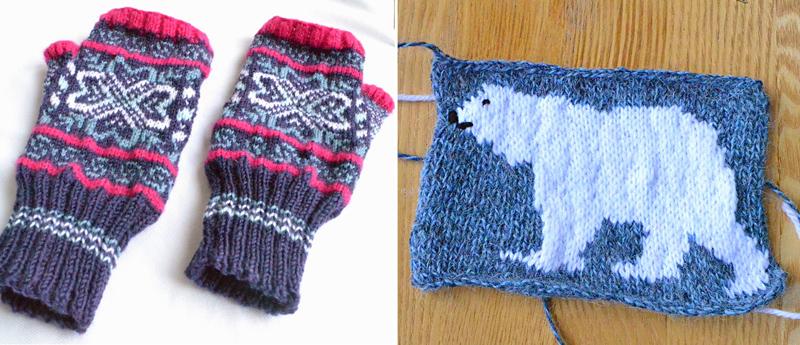 Knit mittens, knit polar bear