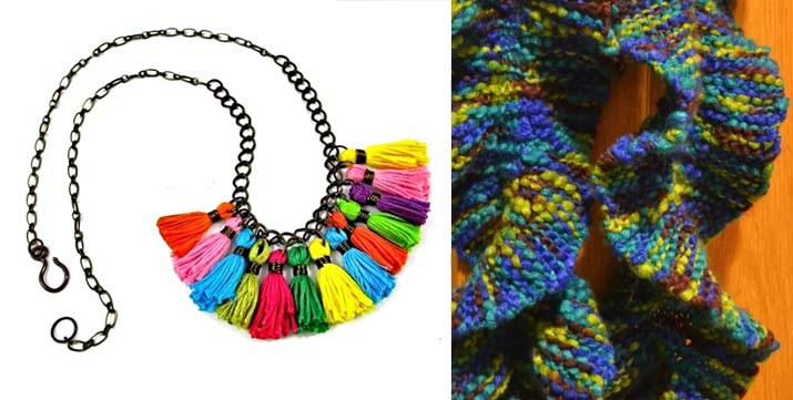Tassel necklace DIY,ruffled knit scarf